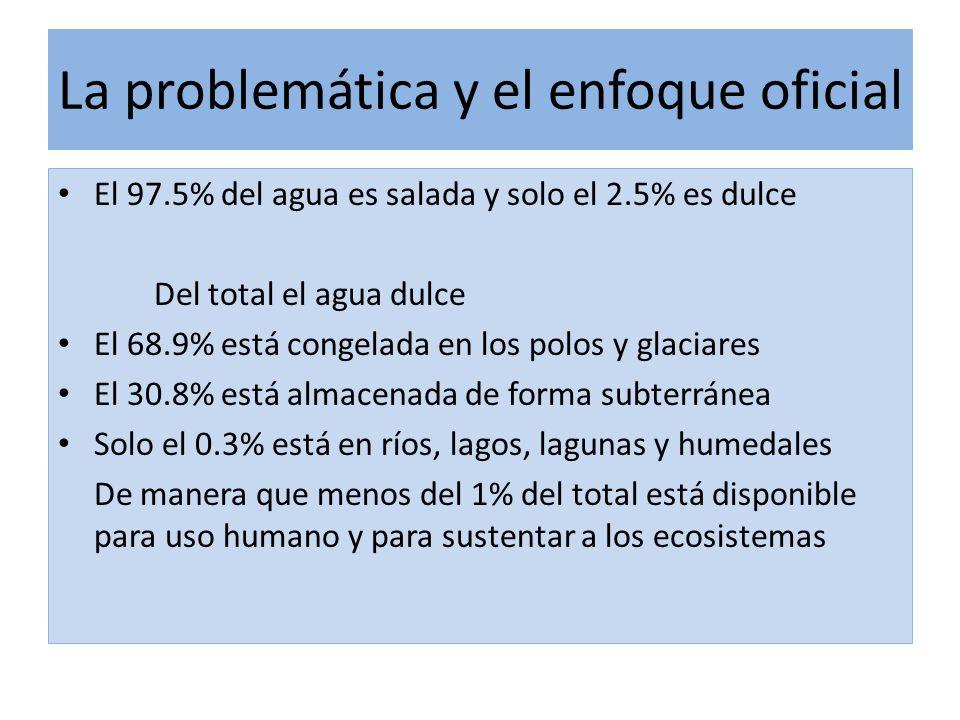 La problemática y el enfoque oficial El 97.5% del agua es salada y solo el 2.5% es dulce Del total el agua dulce El 68.9% está congelada en los polos y glaciares El 30.8% está almacenada de forma subterránea Solo el 0.3% está en ríos, lagos, lagunas y humedales De manera que menos del 1% del total está disponible para uso humano y para sustentar a los ecosistemas