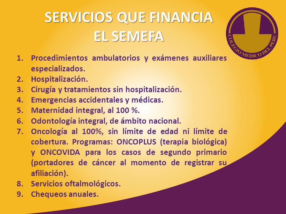 SERVICIOS QUE FINANCIA EL SEMEFA 1.Procedimientos ambulatorios y exámenes auxiliares especializados. 2.Hospitalización. 3.Cirugía y tratamientos sin h
