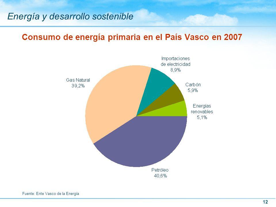 12 Energía y desarrollo sostenible Consumo de energía primaria en el País Vasco en 2007 Fuente: Ente Vasco de la Energía