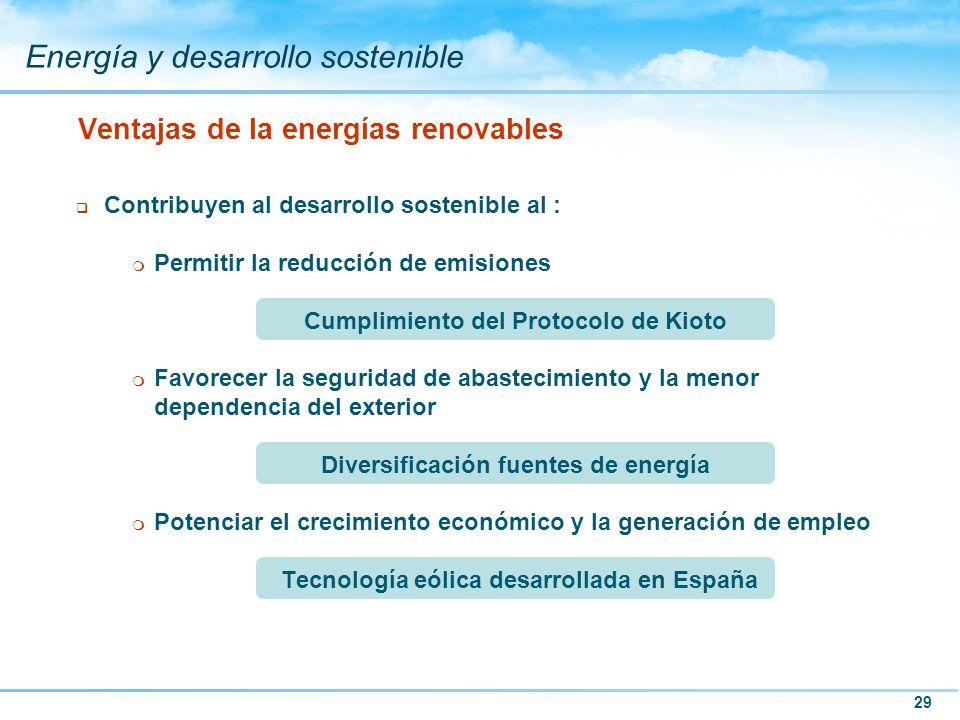 29 Energía y desarrollo sostenible q Contribuyen al desarrollo sostenible al : m Permitir la reducción de emisiones Cumplimiento del Protocolo de Kiot
