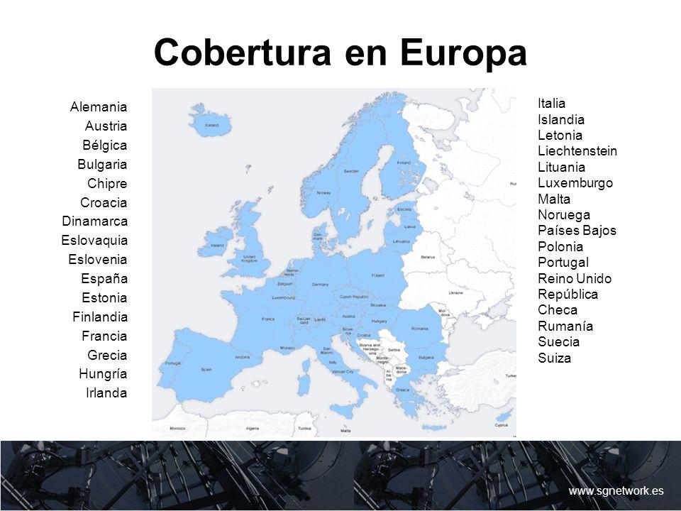Cobertura en Europa www.sgnetwork.es Italia Islandia Letonia Liechtenstein Lituania Luxemburgo Malta Noruega Países Bajos Polonia Portugal Reino Unido
