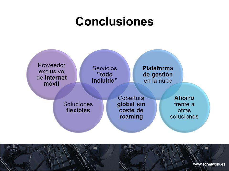Conclusiones www.sgnetwork.es Proveedor exclusivo de Internet móvil Soluciones flexibles Servicios todo incluido Cobertura global sin coste de roaming