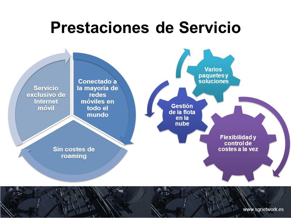 Prestaciones de Servicio www.sgnetwork.es Conectado a la mayoría de redes móviles en todo el mundo Sin costes de roaming Servicio exclusivo de Interne