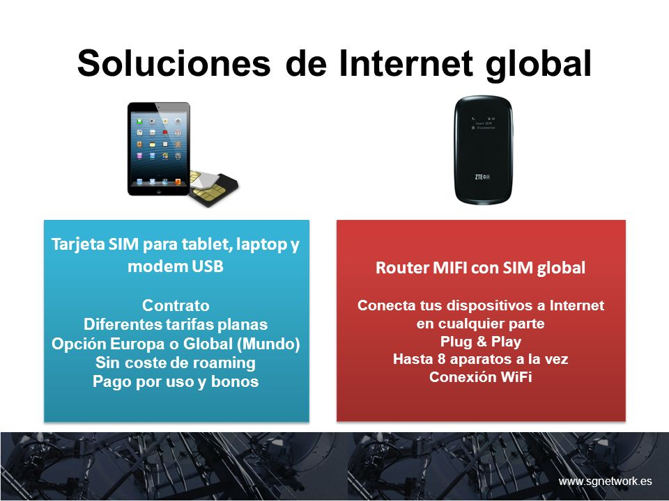 Soluciones de Internet global www.sgnetwork.es Tarjeta SIM para tablet, laptop y modem USB Contrato Diferentes tarifas planas Opción Europa o Global (