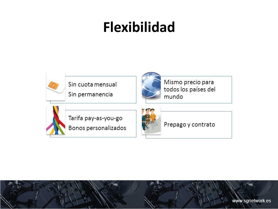 Flexibilidad Sin cuota mensual Sin permanencia Mismo precio para todos los países del mundo Tarifa pay-as-you-go Bonos personalizados Prepago y contra