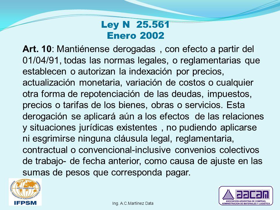 Art. 10: Mantiénense derogadas, con efecto a partir del 01/04/91, todas las normas legales, o reglamentarias que establecen o autorizan la indexación