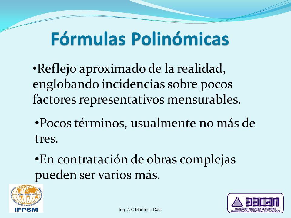 Fórmulas Polinómicas Reflejo aproximado de la realidad, englobando incidencias sobre pocos factores representativos mensurables. Pocos términos, usual