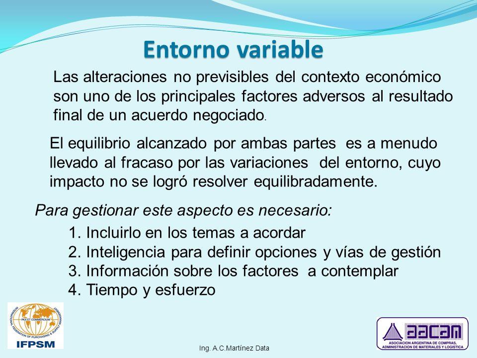Las alteraciones no previsibles del contexto económico son uno de los principales factores adversos al resultado final de un acuerdo negociado. El equ