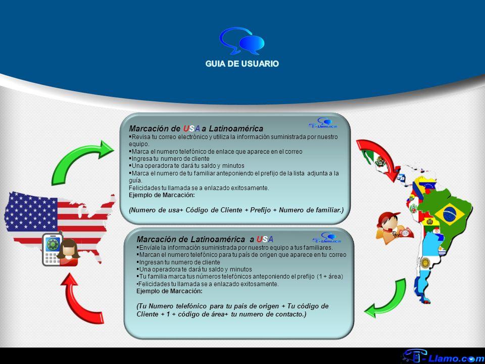 Marcación de USA a Latinoamérica Revisa tu correo electrónico y utiliza la información suministrada por nuestro equipo. Marca el numero telefónico de