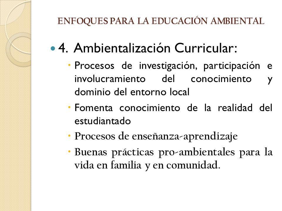 4. Ambientalización Curricular: Procesos de investigación, participación e involucramiento del conocimiento y dominio del entorno local Fomenta conoci