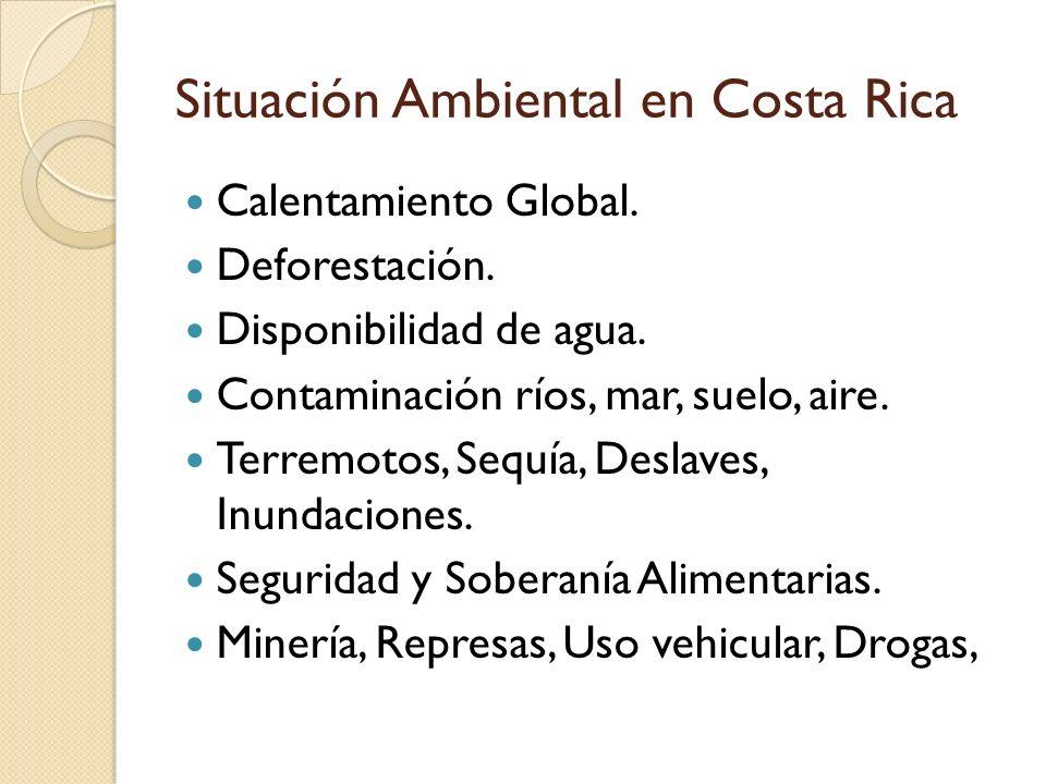 Situación Ambiental en Costa Rica Calentamiento Global. Deforestación. Disponibilidad de agua. Contaminación ríos, mar, suelo, aire. Terremotos, Sequí