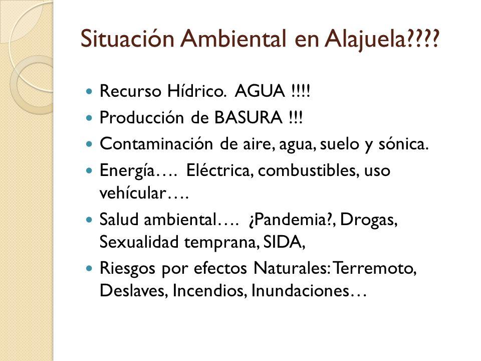 Situación Ambiental en Alajuela???? Recurso Hídrico. AGUA !!!! Producción de BASURA !!! Contaminación de aire, agua, suelo y sónica. Energía…. Eléctri
