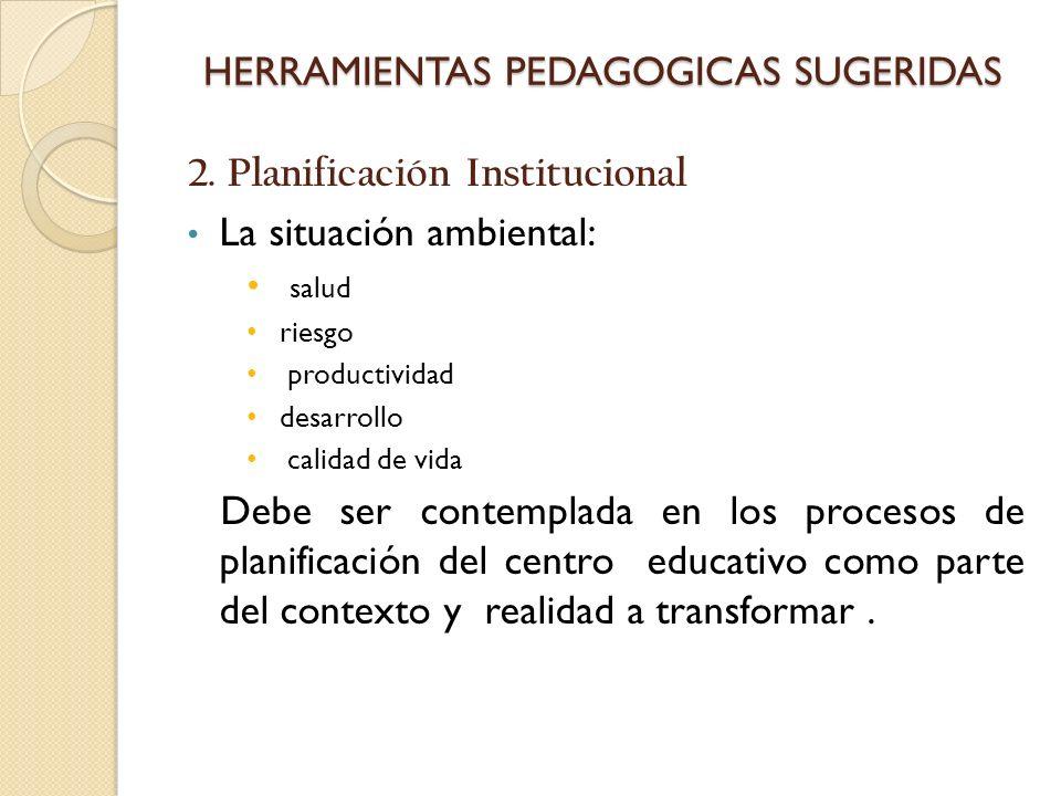 HERRAMIENTAS PEDAGOGICAS SUGERIDAS 2. Planificación Institucional La situación ambiental: salud riesgo productividad desarrollo calidad de vida Debe s