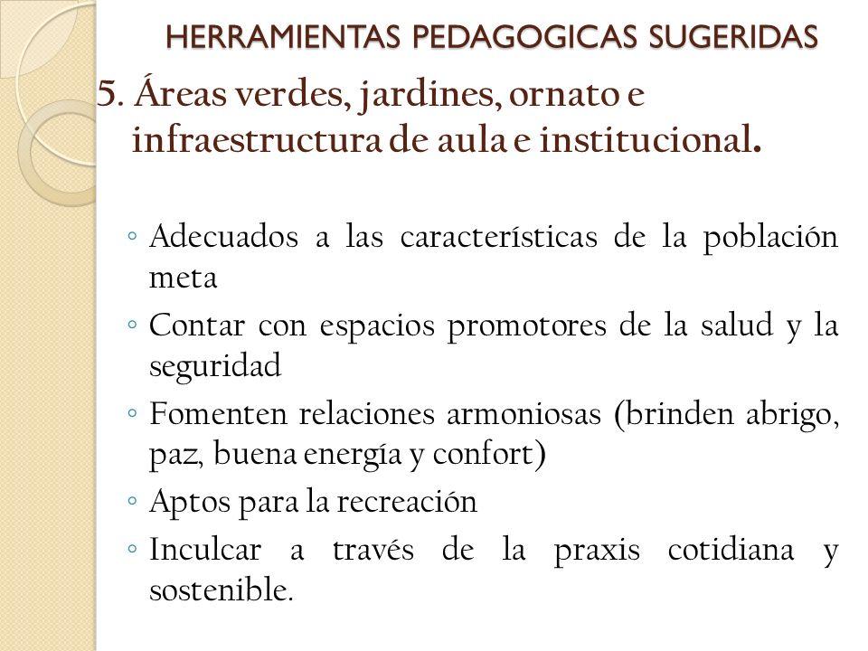 5. Áreas verdes, jardines, ornato e infraestructura de aula e institucional. Adecuados a las características de la población meta Contar con espacios
