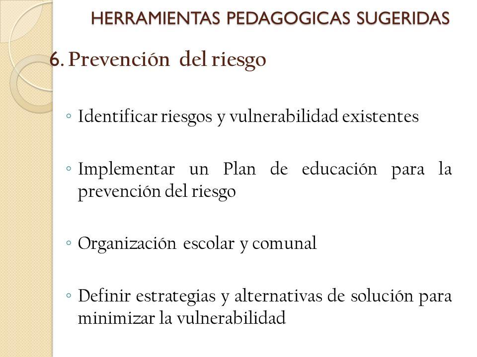 6. Prevención del riesgo Identificar riesgos y vulnerabilidad existentes Implementar un Plan de educación para la prevención del riesgo Organización e