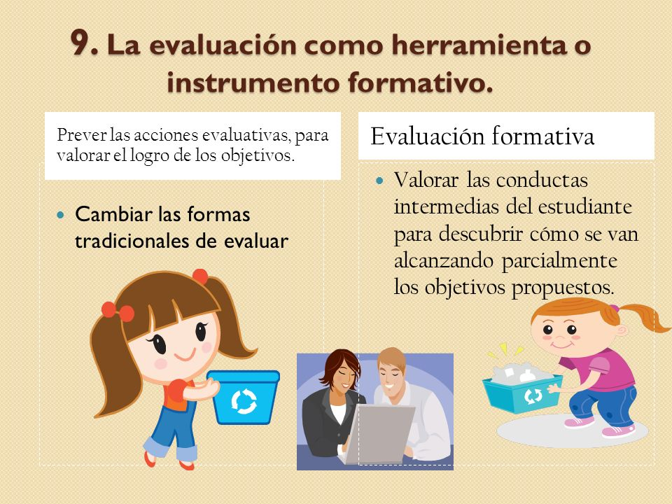 9. La evaluación como herramienta o instrumento formativo. Prever las acciones evaluativas, para valorar el logro de los objetivos. Evaluación formati