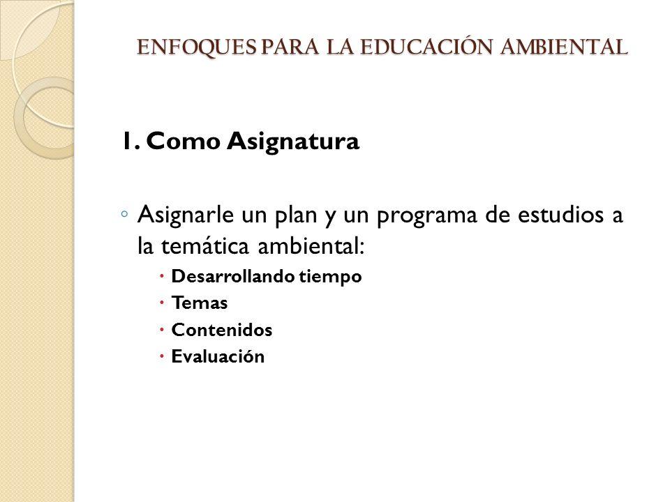 ENFOQUES PARA LA EDUCACIÓN AMBIENTAL ENFOQUES PARA LA EDUCACIÓN AMBIENTAL 1. Como Asignatura Asignarle un plan y un programa de estudios a la temática