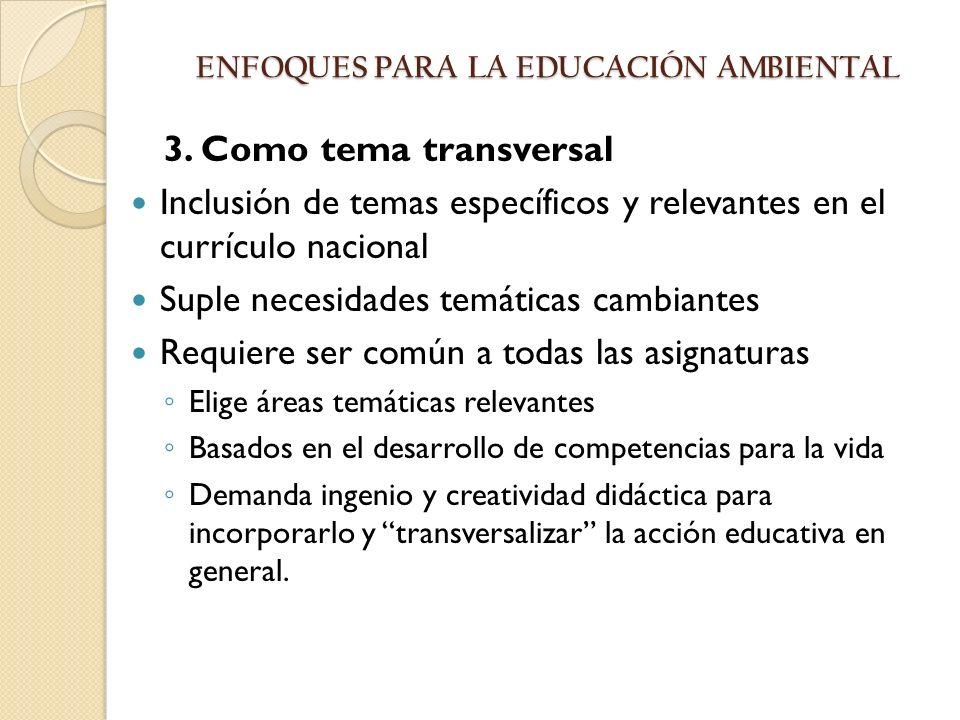 3. Como tema transversal Inclusión de temas específicos y relevantes en el currículo nacional Suple necesidades temáticas cambiantes Requiere ser comú