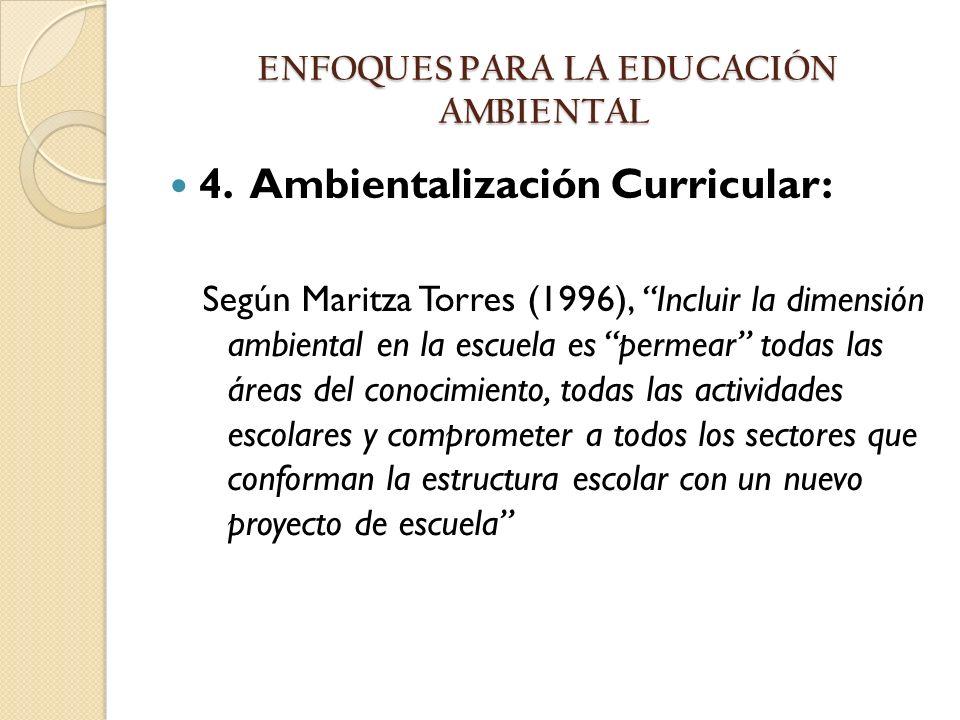 4. Ambientalización Curricular: Según Maritza Torres (1996), Incluir la dimensión ambiental en la escuela es permear todas las áreas del conocimiento,