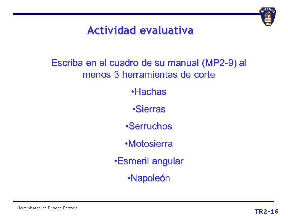 Herramientas de Entrada Forzada Actividad evaluativa TR2-16 Escriba en el cuadro de su manual (MP2-9) al menos 3 herramientas de corte HachasHachas Si