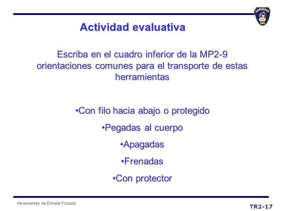 Herramientas de Entrada Forzada Actividad evaluativa TR2-17 Escriba en el cuadro inferior de la MP2-9 orientaciones comunes para el transporte de esta