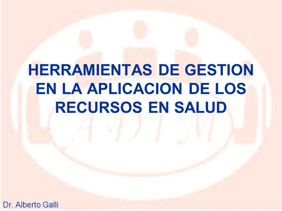 HERRAMIENTAS DE GESTION EN LA APLICACION DE LOS RECURSOS EN SALUD Dr. Alberto Galli