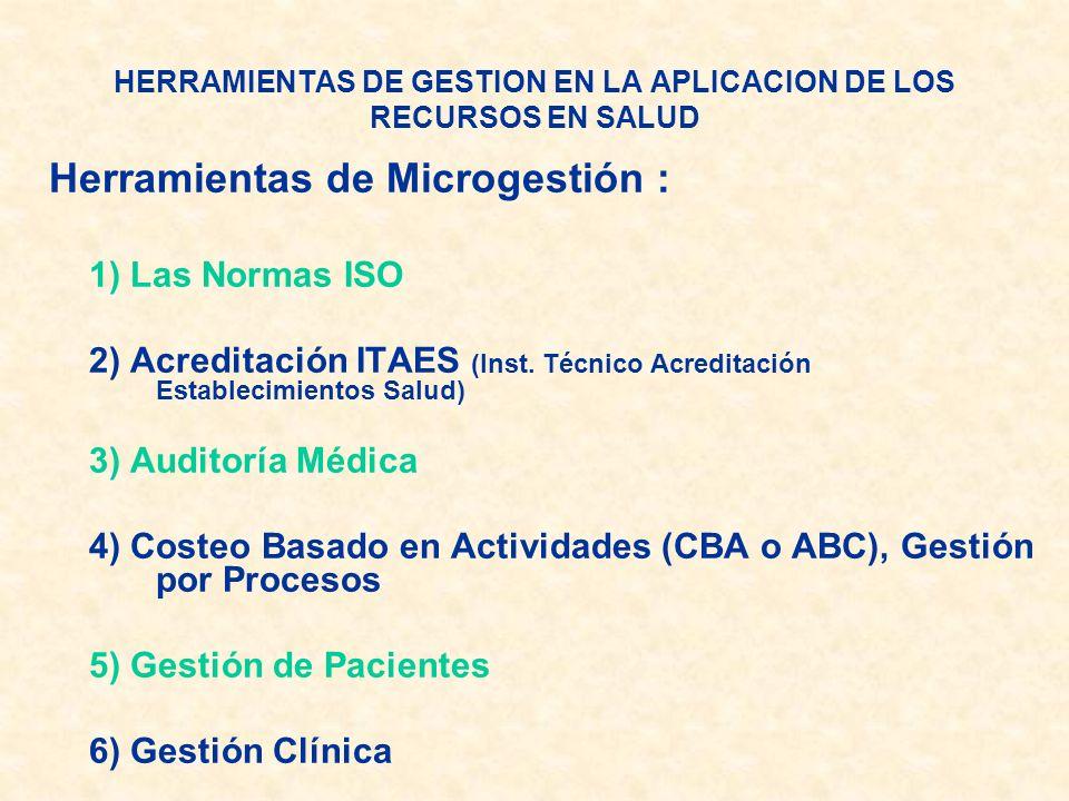 HERRAMIENTAS DE GESTION EN LA APLICACION DE LOS RECURSOS EN SALUD Herramientas de Microgestión : 1) Las Normas ISO 2) Acreditación ITAES (Inst. Técnic
