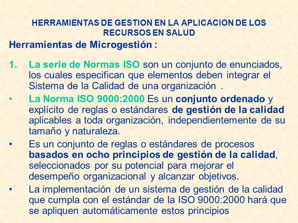 HERRAMIENTAS DE GESTION EN LA APLICACION DE LOS RECURSOS EN SALUD Herramientas de Microgestión : 1.La serie de Normas ISO son un conjunto de enunciado