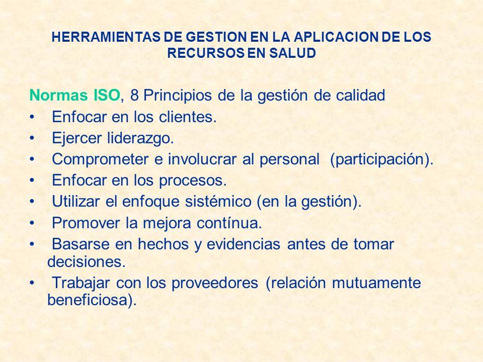HERRAMIENTAS DE GESTION EN LA APLICACION DE LOS RECURSOS EN SALUD Normas ISO, 8 Principios de la gestión de calidad Enfocar en los clientes. Ejercer l