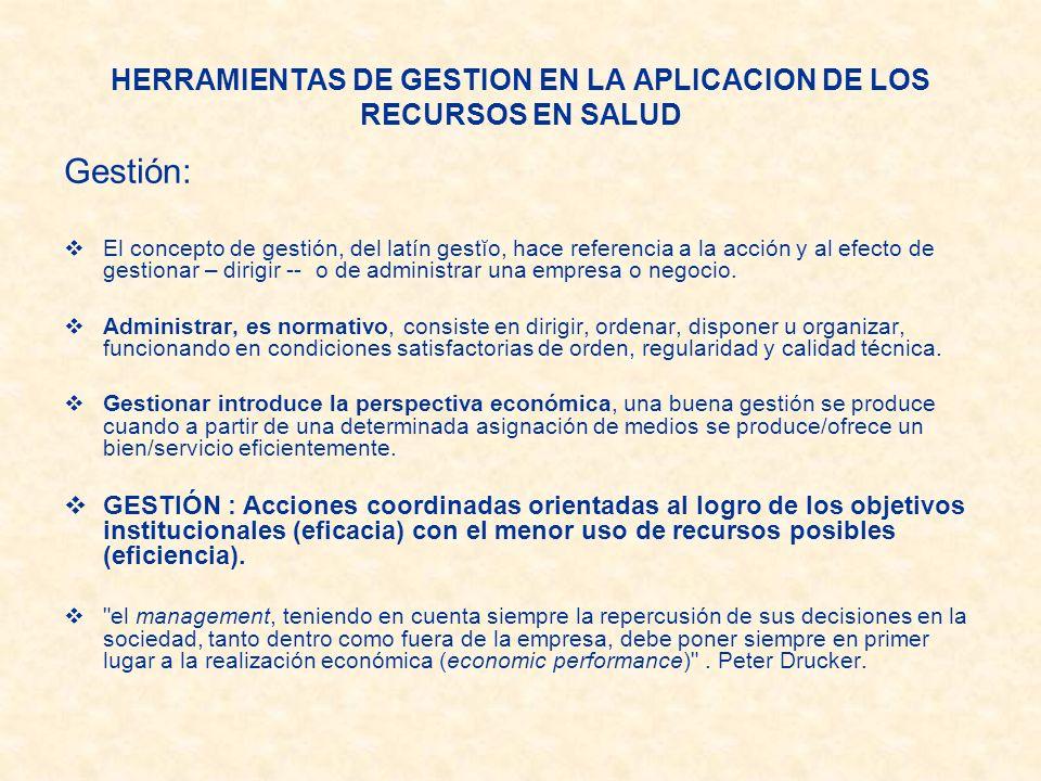 HERRAMIENTAS DE GESTION EN LA APLICACION DE LOS RECURSOS EN SALUD Gestión: El concepto de gestión, del latín gestĭo, hace referencia a la acción y al