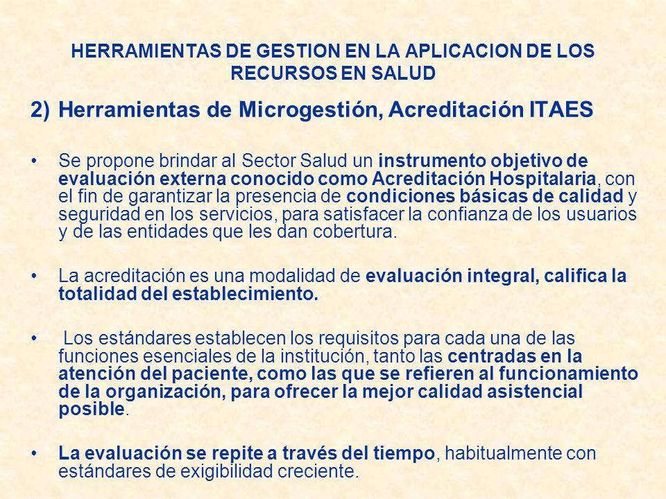 HERRAMIENTAS DE GESTION EN LA APLICACION DE LOS RECURSOS EN SALUD 2)Herramientas de Microgestión, Acreditación ITAES Se propone brindar al Sector Salu