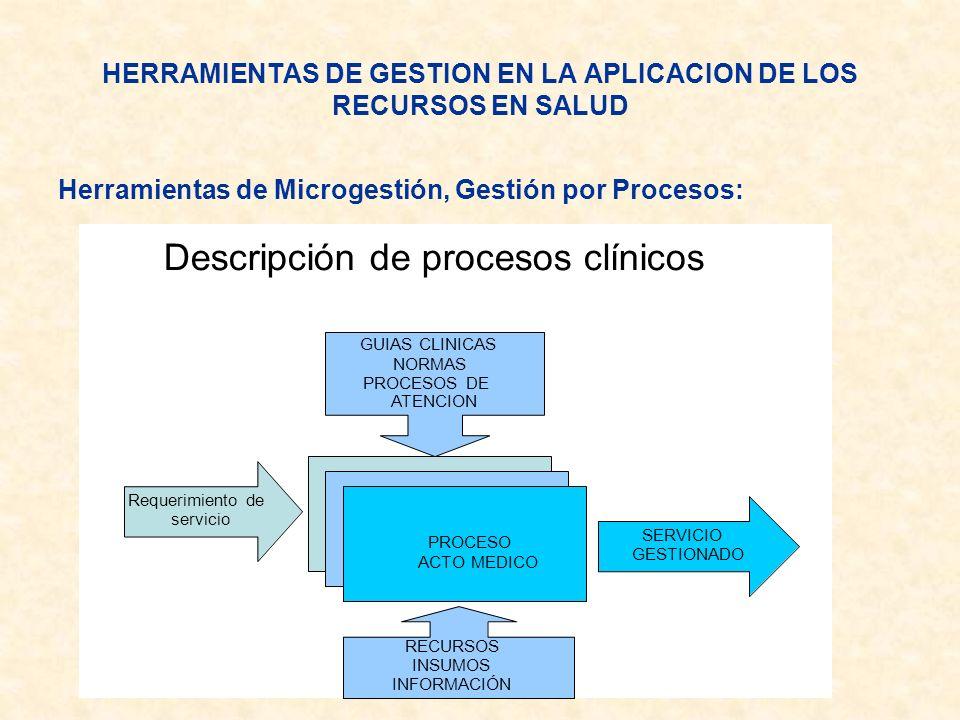 Herramientas de Microgestión, Gestión por Procesos: HERRAMIENTAS DE GESTION EN LA APLICACION DE LOS RECURSOS EN SALUD Descripción de procesos clínicos