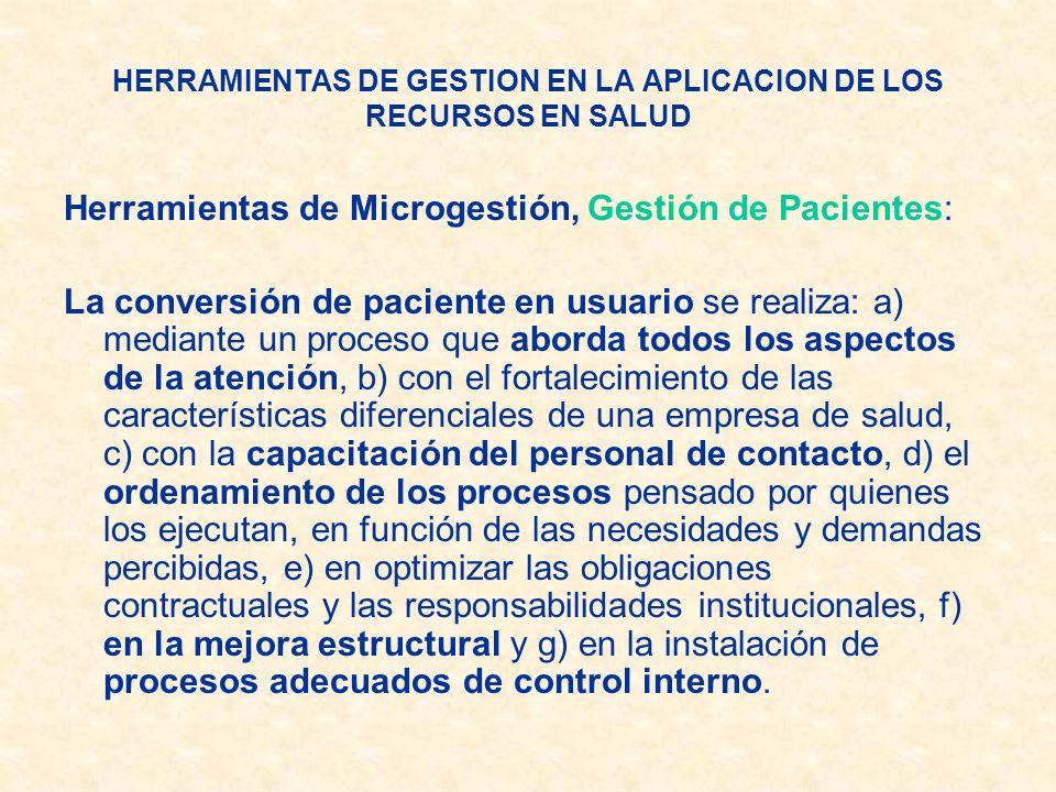 Herramientas de Microgestión, Gestión de Pacientes: La conversión de paciente en usuario se realiza: a) mediante un proceso que aborda todos los aspec