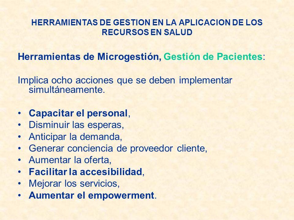 Herramientas de Microgestión, Gestión de Pacientes: Implica ocho acciones que se deben implementar simultáneamente. Capacitar el personal, Disminuir l