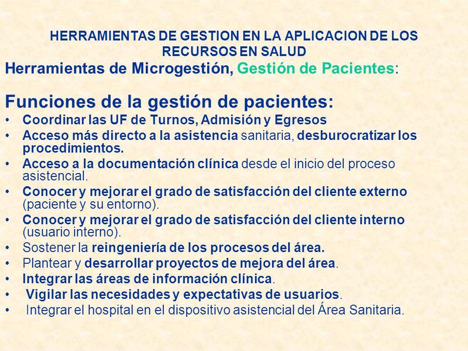 Herramientas de Microgestión, Gestión de Pacientes: Funciones de la gestión de pacientes: Coordinar las UF de Turnos, Admisión y Egresos Acceso más di