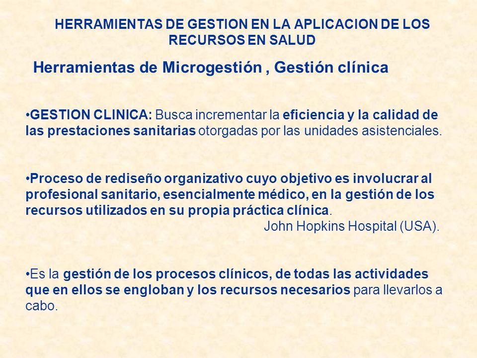 GESTION CLINICA: Busca incrementar la eficiencia y la calidad de las prestaciones sanitarias otorgadas por las unidades asistenciales. Proceso de redi
