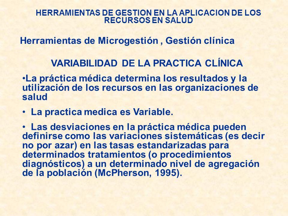 HERRAMIENTAS DE GESTION EN LA APLICACION DE LOS RECURSOS EN SALUD Herramientas de Microgestión, Gestión clínica VARIABILIDAD DE LA PRACTICA CLÍNICA La