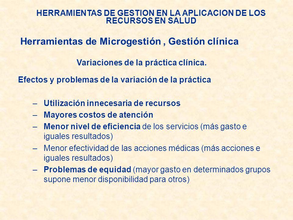 HERRAMIENTAS DE GESTION EN LA APLICACION DE LOS RECURSOS EN SALUD Variaciones de la práctica clínica. Efectos y problemas de la variación de la prácti