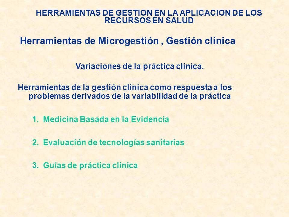HERRAMIENTAS DE GESTION EN LA APLICACION DE LOS RECURSOS EN SALUD Variaciones de la práctica clínica. Herramientas de la gestión clínica como respuest