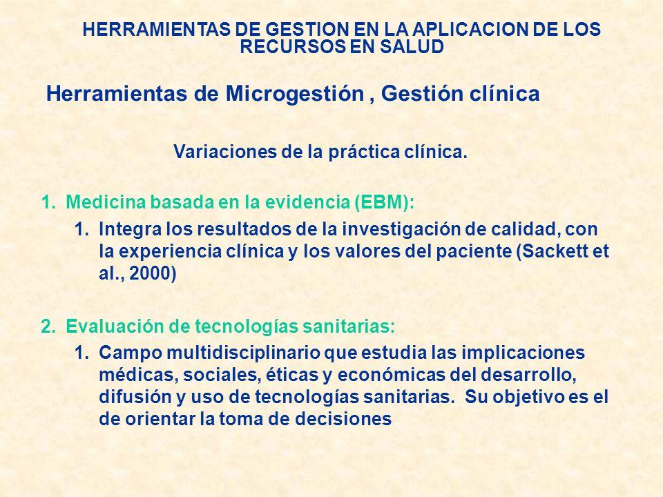 HERRAMIENTAS DE GESTION EN LA APLICACION DE LOS RECURSOS EN SALUD Variaciones de la práctica clínica. 1.Medicina basada en la evidencia (EBM): 1.Integ