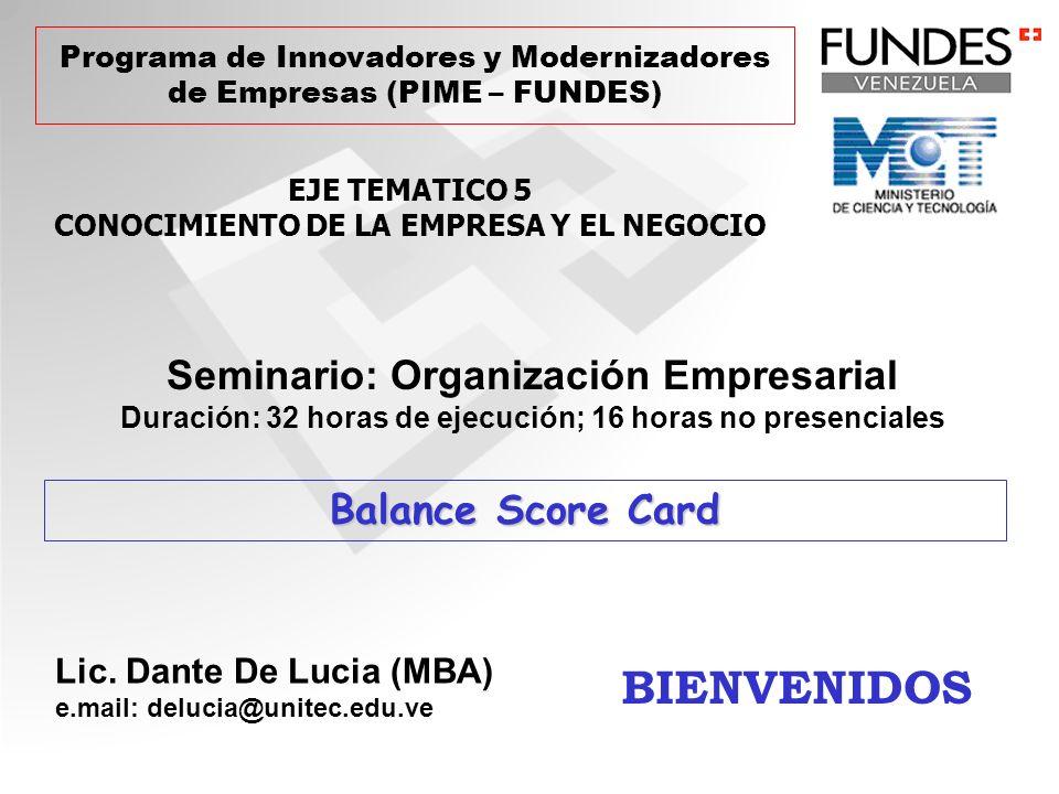 PIME: Estructura del Seminario Organización Empresarial Objetivos 1 y 2: Pensamiento y Modelos Empresariales (enfóque clásico, sistémico, integral y familiar) Objetivos 3: La organización empresarial (PyME) y sus procesos Objetivos 5: Características de la Gestión Empresarial en las PyMEs Entrepreneur Empresa Familiar PyME Objetivos 4, 6, y 7: Gerencia Estratégica en las PyMEs, BSC & Evaluación y Seguimiento Objetivos 1, 2, 3, 5: 32 horas aula y 10 horas virtuales Objetivos 4, 6, 7: 32 horas de aula y 6 horas virtuales* *Existe continuidad entre el 1er y 2ndo grupo