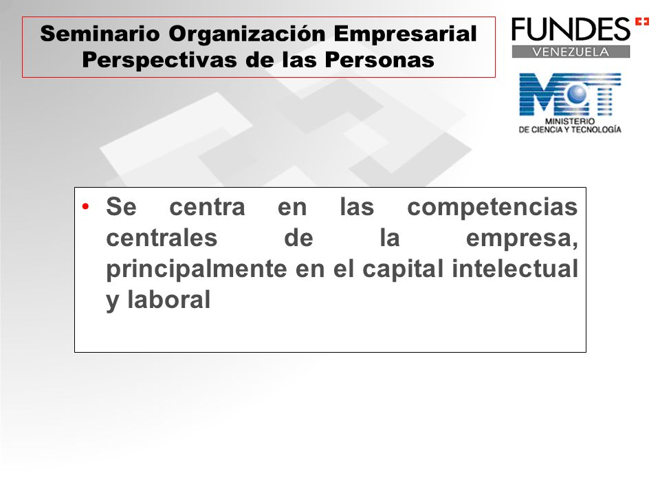 Se centra en las competencias centrales de la empresa, principalmente en el capital intelectual y laboral Seminario Organización Empresarial Perspecti