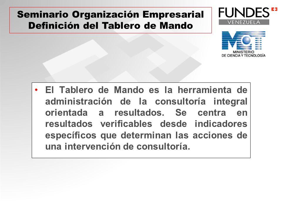 El Tablero de Mando es la herramienta de administración de la consultoría integral orientada a resultados. Se centra en resultados verificables desde