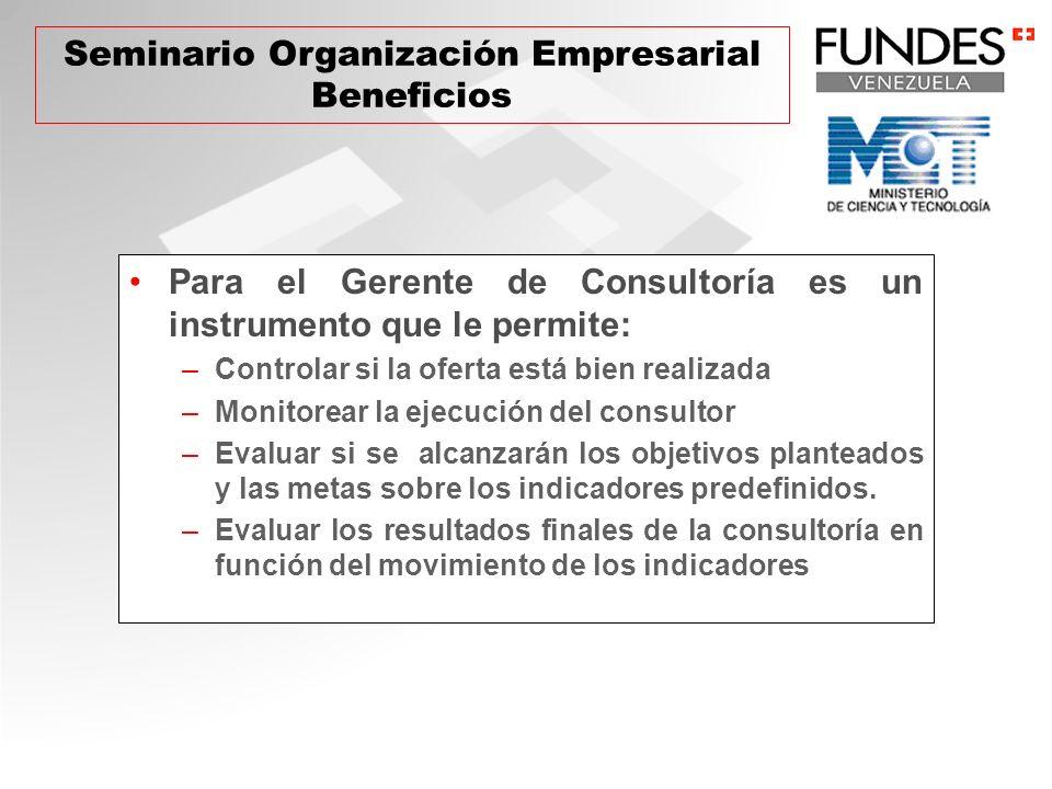 Para el Gerente de Consultoría es un instrumento que le permite: –Controlar si la oferta está bien realizada –Monitorear la ejecución del consultor –E