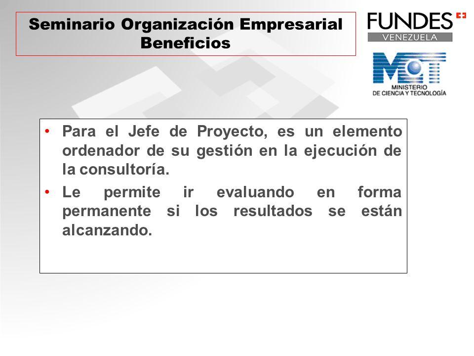 Para el Jefe de Proyecto, es un elemento ordenador de su gestión en la ejecución de la consultoría.