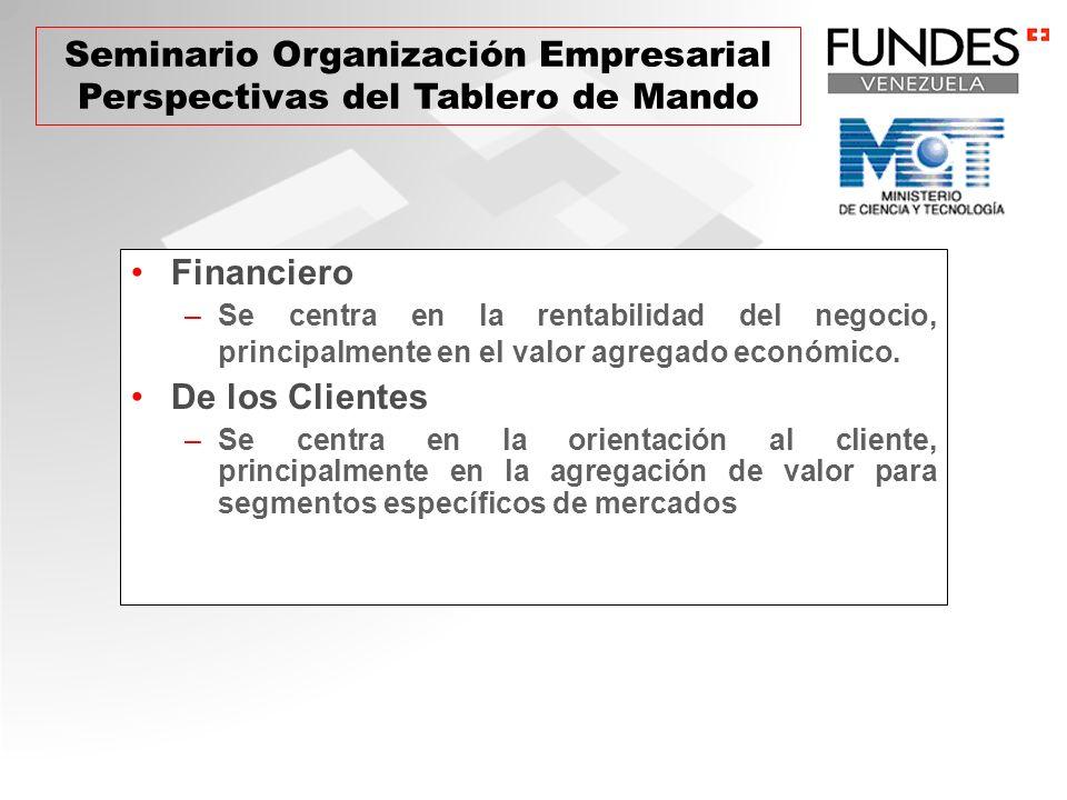 Financiero –Se centra en la rentabilidad del negocio, principalmente en el valor agregado económico. De los Clientes –Se centra en la orientación al c