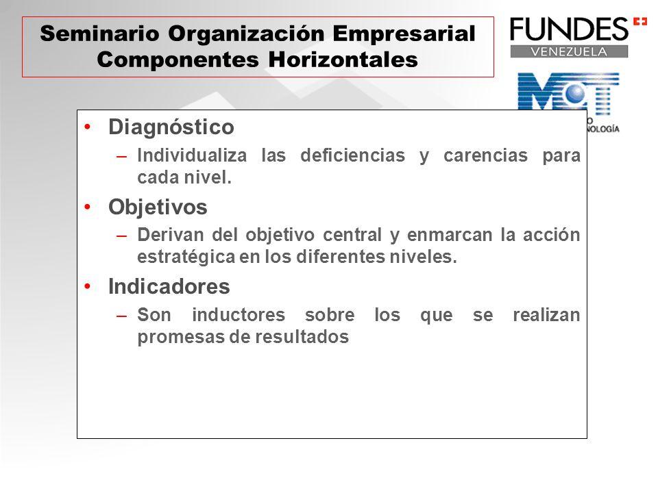 Diagnóstico –Individualiza las deficiencias y carencias para cada nivel. Objetivos –Derivan del objetivo central y enmarcan la acción estratégica en l