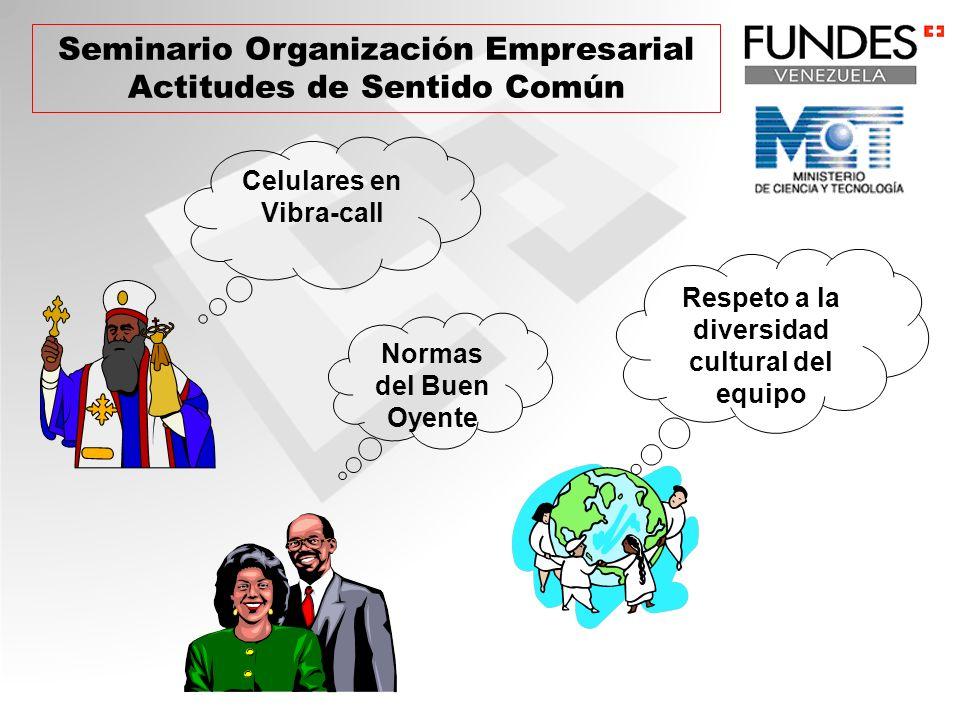 Seminario Organización Empresarial Actitudes de Sentido Común Celulares en Vibra-call Normas del Buen Oyente Respeto a la diversidad cultural del equi