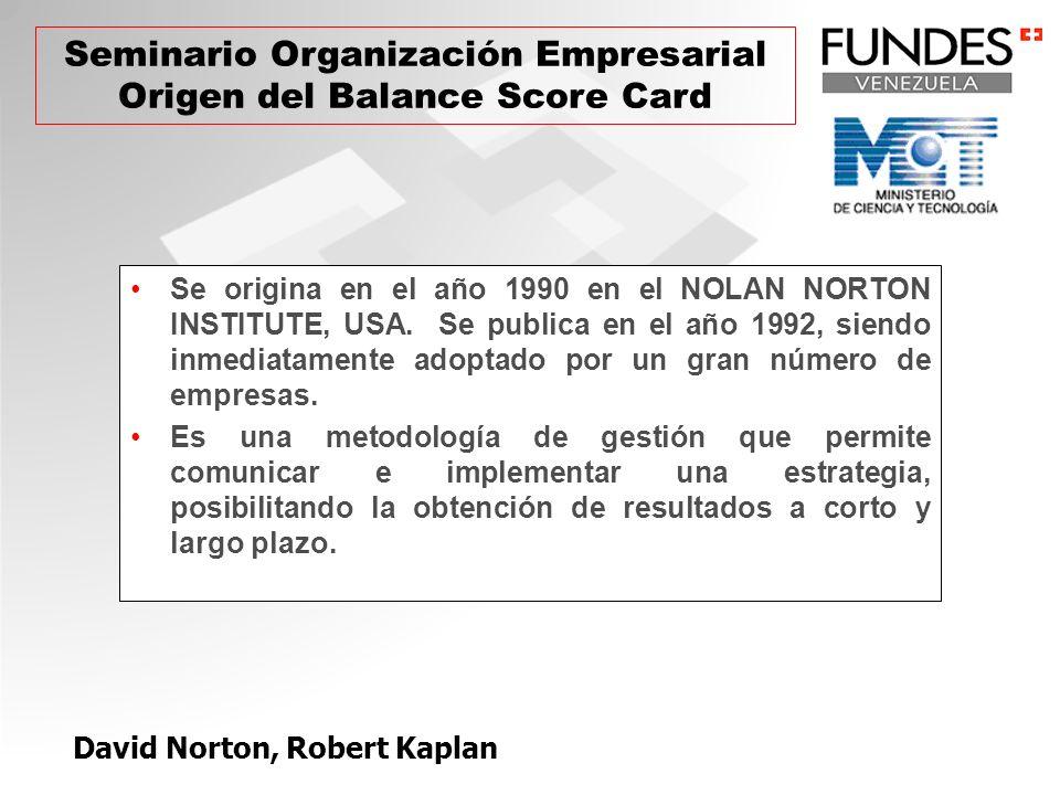 David Norton, Robert Kaplan Se origina en el año 1990 en el NOLAN NORTON INSTITUTE, USA. Se publica en el año 1992, siendo inmediatamente adoptado por