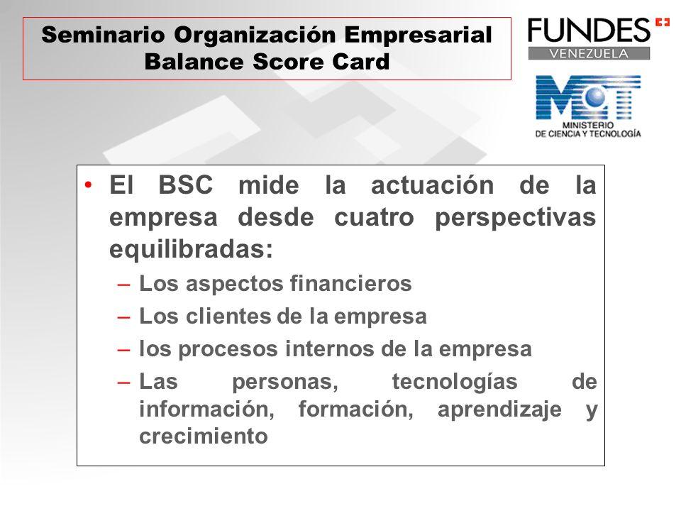 El BSC mide la actuación de la empresa desde cuatro perspectivas equilibradas: –Los aspectos financieros –Los clientes de la empresa –los procesos internos de la empresa –Las personas, tecnologías de información, formación, aprendizaje y crecimiento Seminario Organización Empresarial Balance Score Card
